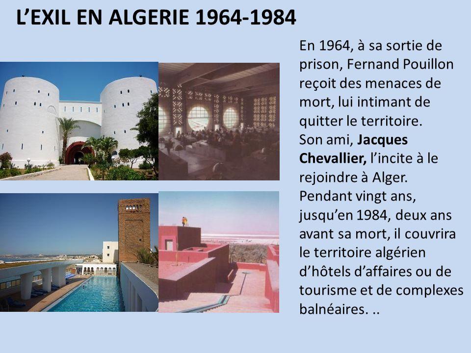 En 1964, à sa sortie de prison, Fernand Pouillon reçoit des menaces de mort, lui intimant de quitter le territoire. Son ami, Jacques Chevallier, linci
