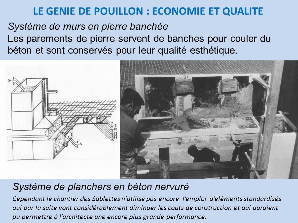 LE GENIE DE POUILLON : ECONOMIE ET QUALITE Système de murs en pierre banchée Les parements de pierre servent de banches pour couler du béton et sont c