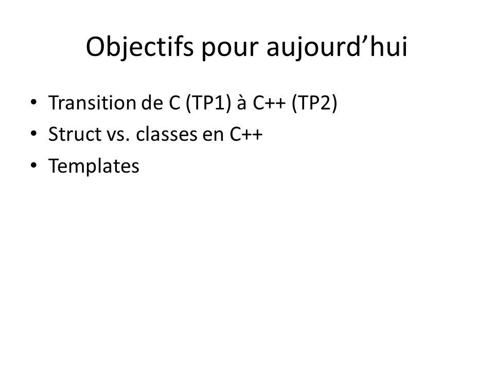 Objectifs pour aujourdhui Transition de C (TP1) à C++ (TP2) Struct vs. classes en C++ Templates