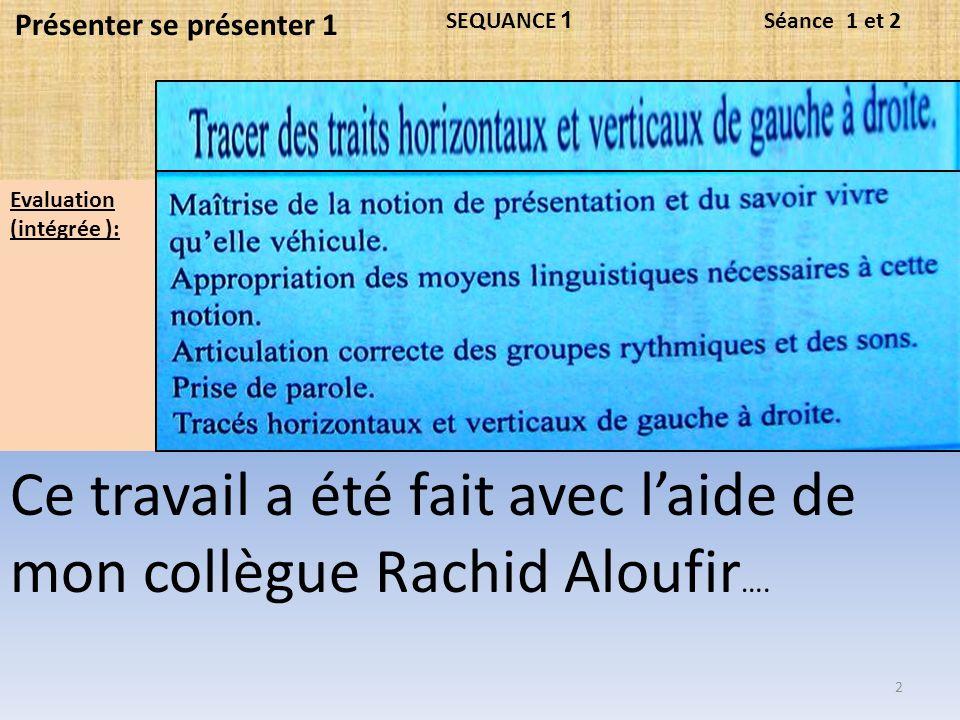 Ce travail a été fait avec laide de mon collègue Rachid Aloufir ….
