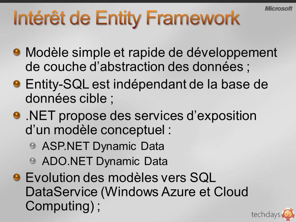 Modèle simple et rapide de développement de couche dabstraction des données ; Entity-SQL est indépendant de la base de données cible ;.NET propose des