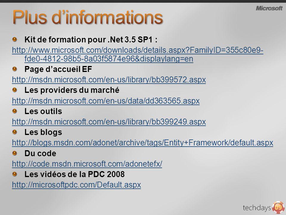 Kit de formation pour.Net 3.5 SP1 : http://www.microsoft.com/downloads/details.aspx?FamilyID=355c80e9- fde0-4812-98b5-8a03f5874e96&displaylang=en Page