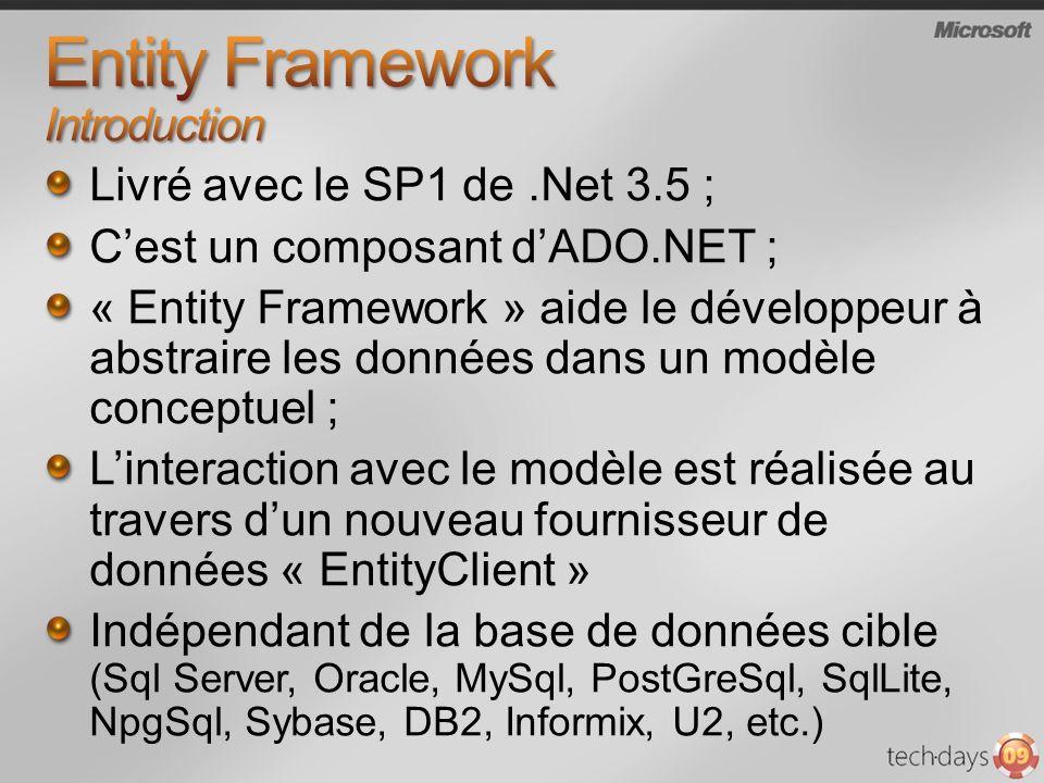 Kit de formation pour.Net 3.5 SP1 : http://www.microsoft.com/downloads/details.aspx?FamilyID=355c80e9- fde0-4812-98b5-8a03f5874e96&displaylang=en Page daccueil EF http://msdn.microsoft.com/en-us/library/bb399572.aspx Les providers du marché http://msdn.microsoft.com/en-us/data/dd363565.aspx Les outils http://msdn.microsoft.com/en-us/library/bb399249.aspx Les blogs http://blogs.msdn.com/adonet/archive/tags/Entity+Framework/default.aspx Du code http://code.msdn.microsoft.com/adonetefx/ Les vidéos de la PDC 2008 http://microsoftpdc.com/Default.aspx