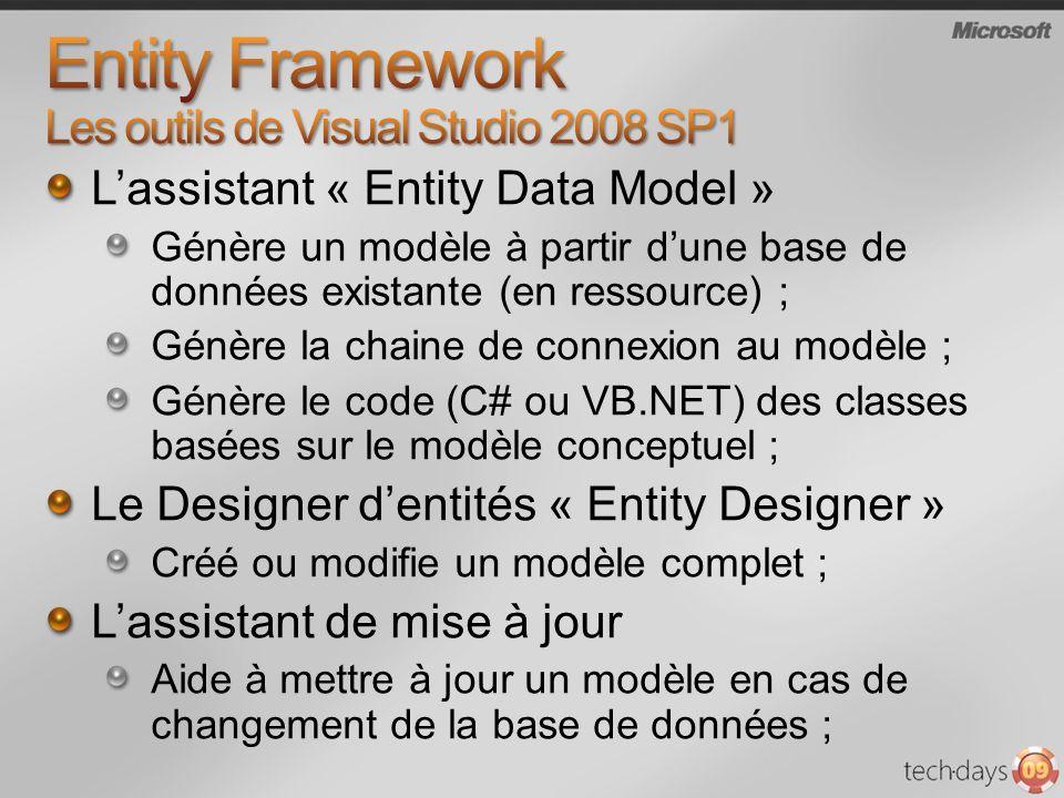 Lassistant « Entity Data Model » Génère un modèle à partir dune base de données existante (en ressource) ; Génère la chaine de connexion au modèle ; G