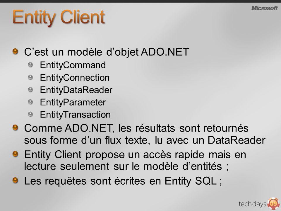 Cest un modèle dobjet ADO.NET EntityCommand EntityConnection EntityDataReader EntityParameter EntityTransaction Comme ADO.NET, les résultats sont reto
