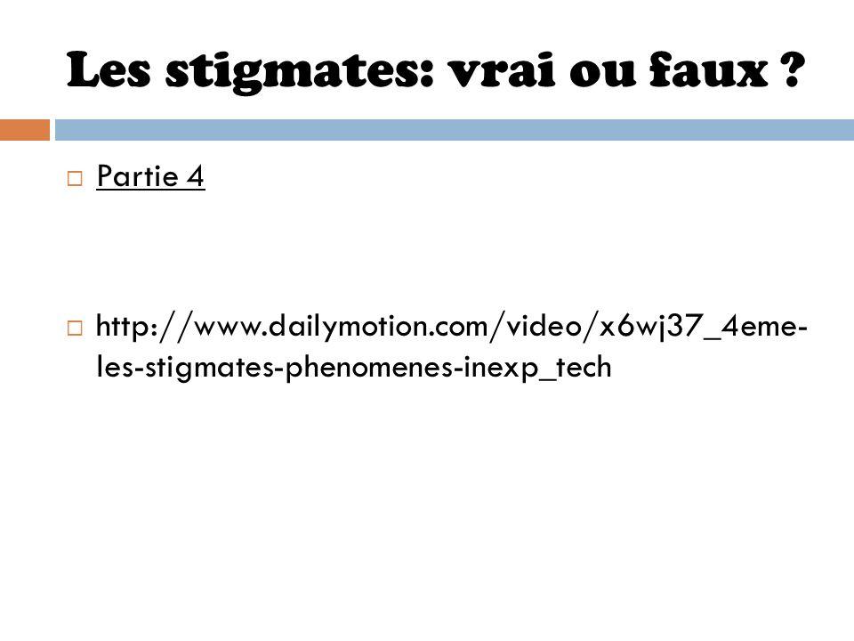 Les stigmates: vrai ou faux ? Partie 4 http://www.dailymotion.com/video/x6wj37_4eme- les-stigmates-phenomenes-inexp_tech