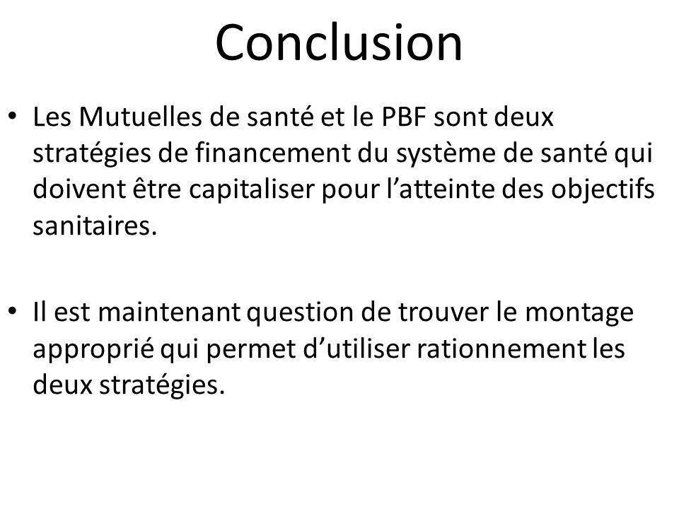 Conclusion Les Mutuelles de santé et le PBF sont deux stratégies de financement du système de santé qui doivent être capitaliser pour latteinte des objectifs sanitaires.