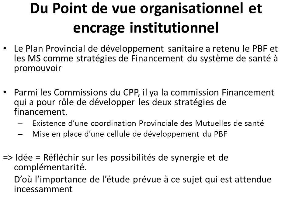 Du Point de vue organisationnel et encrage institutionnel Le Plan Provincial de développement sanitaire a retenu le PBF et les MS comme stratégies de Financement du système de santé à promouvoir Parmi les Commissions du CPP, il ya la commission Financement qui a pour rôle de développer les deux stratégies de financement.