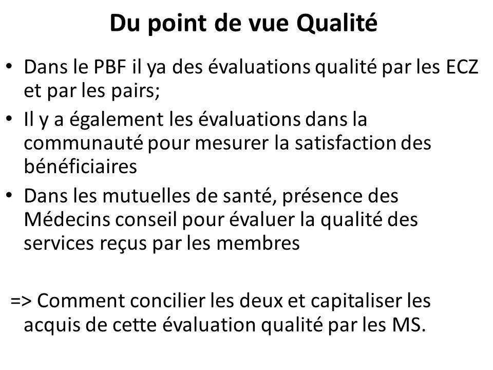 Du point de vue Qualité Dans le PBF il ya des évaluations qualité par les ECZ et par les pairs; Il y a également les évaluations dans la communauté pour mesurer la satisfaction des bénéficiaires Dans les mutuelles de santé, présence des Médecins conseil pour évaluer la qualité des services reçus par les membres => Comment concilier les deux et capitaliser les acquis de cette évaluation qualité par les MS.