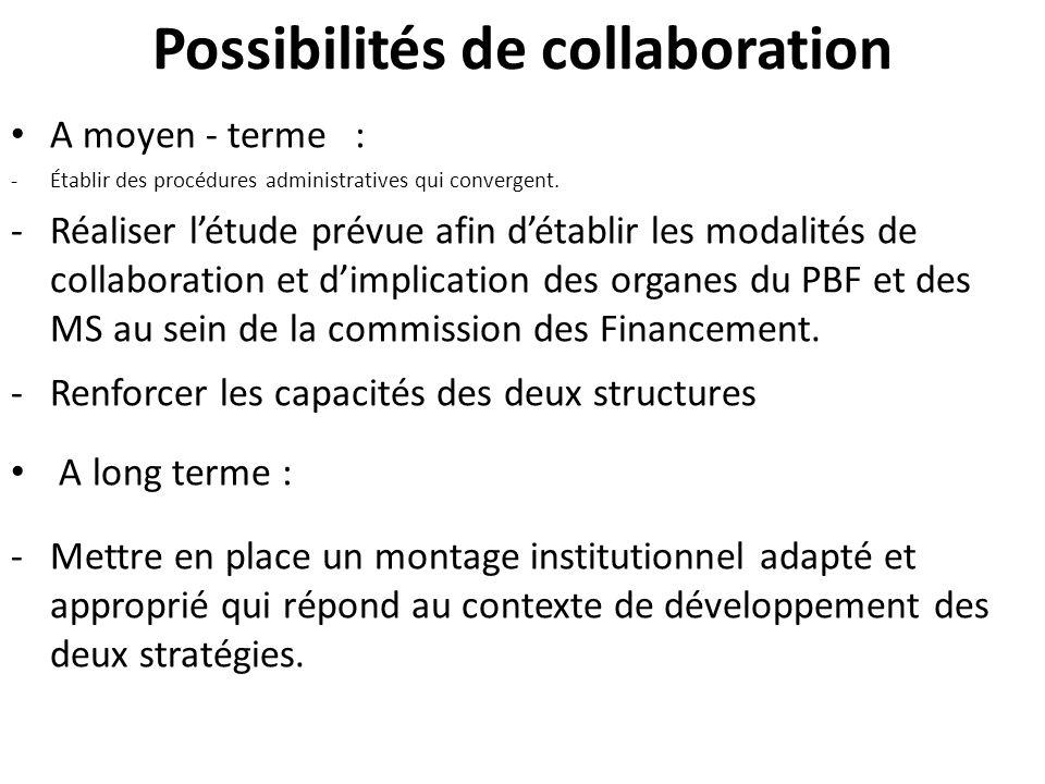 Possibilités de collaboration A moyen - terme : -Établir des procédures administratives qui convergent.