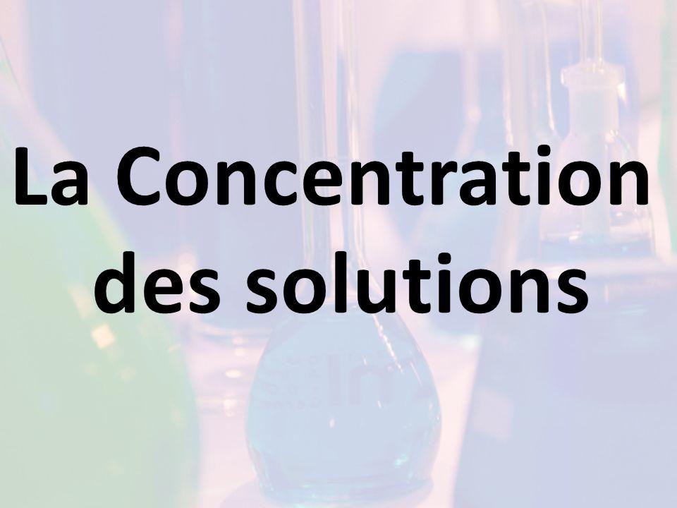 Exemple % m/V À 25 O C, une solution saturée de bioxyde de carbone gazeux dans leau a une concentration de 0,145% (m/V).