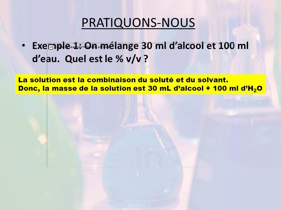 PRATIQUONS-NOUS Exemple 1: On mélange 30 ml dalcool et 100 ml deau. Quel est le % v/v ? La solution est la combinaison du soluté et du solvant. Donc,