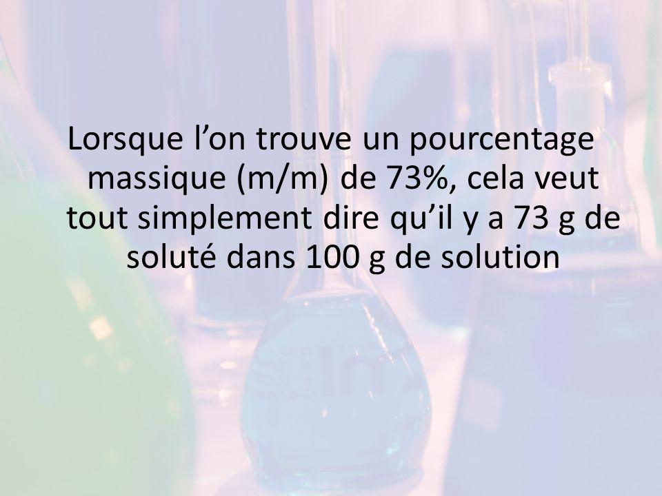 % volume/volume Un pourcentage en volume par volume donne le volume de soluté divisé par le volume de solution.