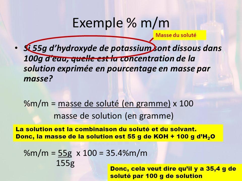 Exemple % m/m Si 55g dhydroxyde de potassium sont dissous dans 100g deau, quelle est la concentration de la solution exprimée en pourcentage en masse