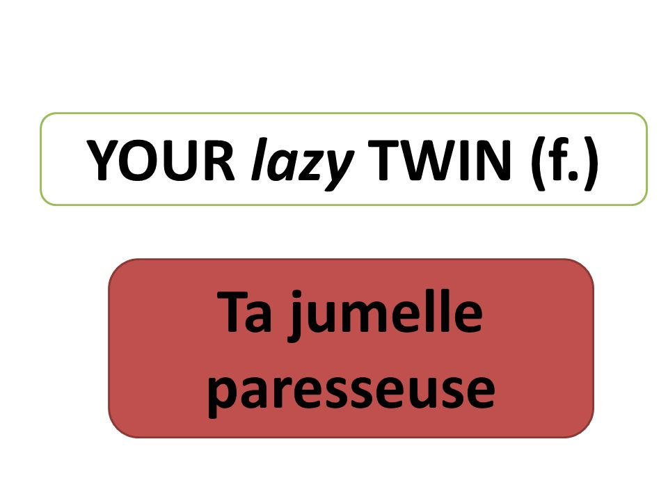 YOUR lazy TWIN (f.) Ta jumelle paresseuse