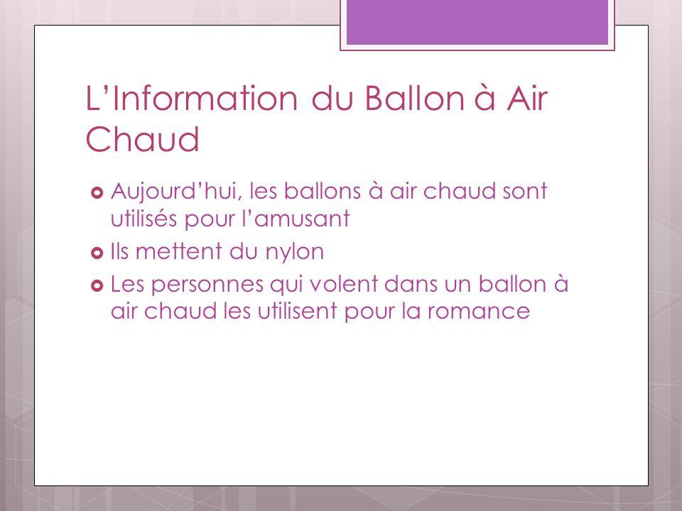 LInformation du Ballon à Air Chaud Aujourdhui, les ballons à air chaud sont utilisés pour lamusant Ils mettent du nylon Les personnes qui volent dans