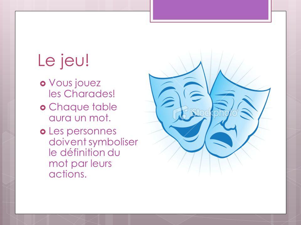 Le jeu! Vous jouez les Charades! Chaque table aura un mot. Les personnes doivent symboliser le définition du mot par leurs actions.