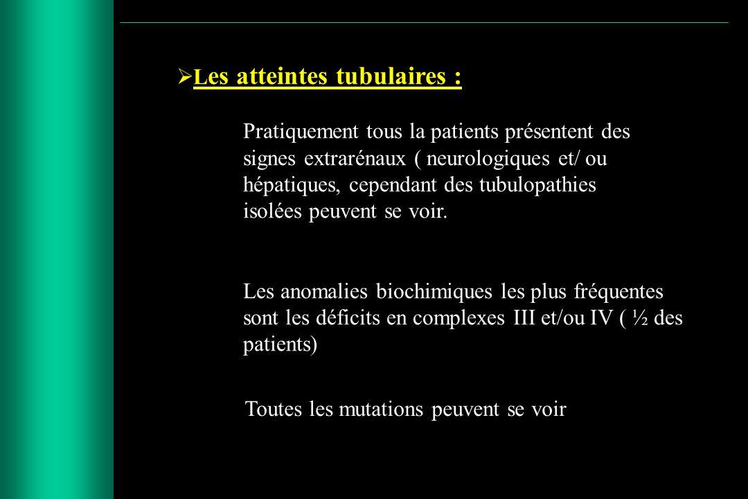 L es atteintes tubulaires : Pratiquement tous la patients présentent des signes extrarénaux ( neurologiques et/ ou hépatiques, cependant des tubulopat