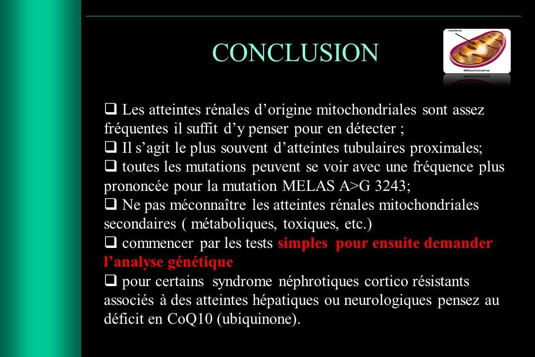 CONCLUSION Les atteintes rénales dorigine mitochondriales sont assez fréquentes il suffit dy penser pour en détecter ; Il sagit le plus souvent dattei