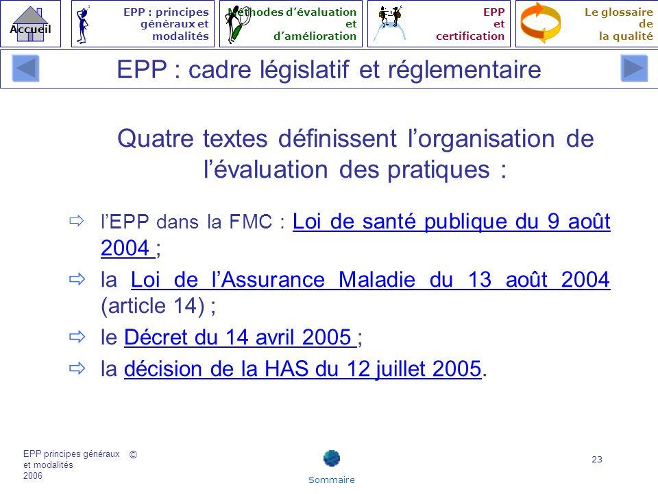 © EPP principes généraux et modalités 2006 Accueil Le glossaire de la qualité EPP : principes généraux et modalités Méthodes dévaluation et daméliorat