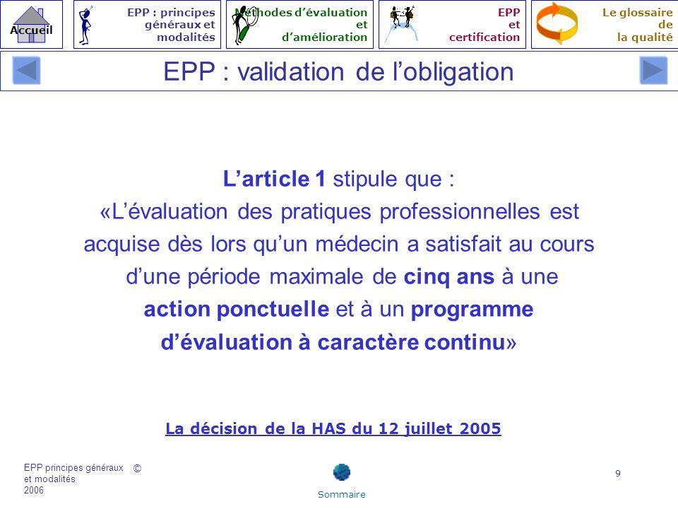© EPP principes généraux et modalités 2006 Accueil Le glossaire de la qualité EPP : principes généraux et modalités Méthodes dévaluation et damélioration EPP et certification 30