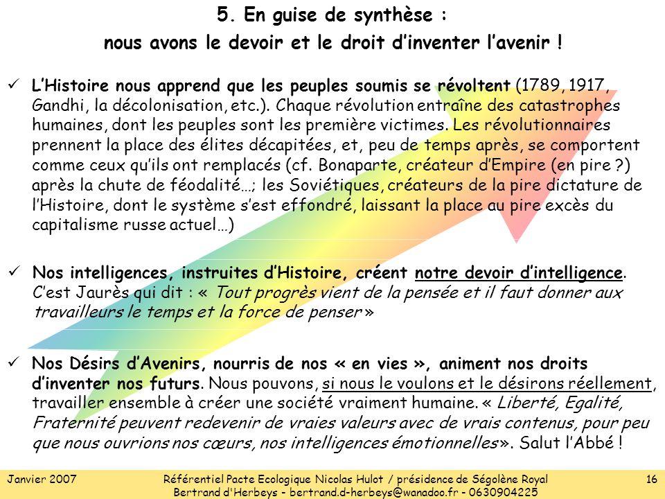 Janvier 2007Référentiel Pacte Ecologique Nicolas Hulot / présidence de Ségolène Royal Bertrand d Herbeys - bertrand.d-herbeys@wanadoo.fr - 0630904225 16 5.