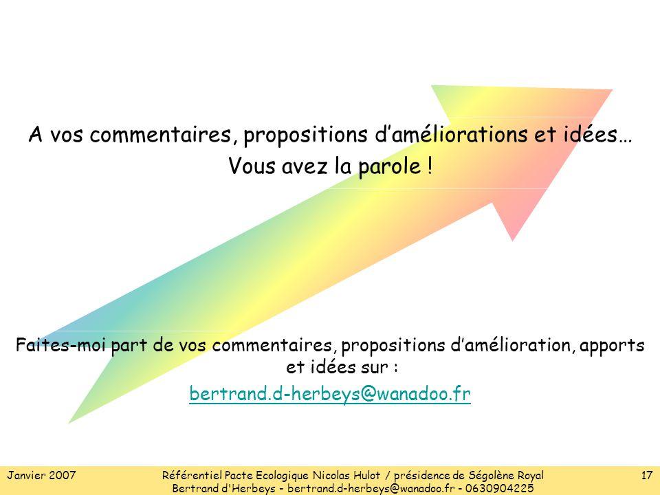 Janvier 2007Référentiel Pacte Ecologique Nicolas Hulot / présidence de Ségolène Royal Bertrand d Herbeys - bertrand.d-herbeys@wanadoo.fr - 0630904225 17 A vos commentaires, propositions daméliorations et idées… Vous avez la parole .