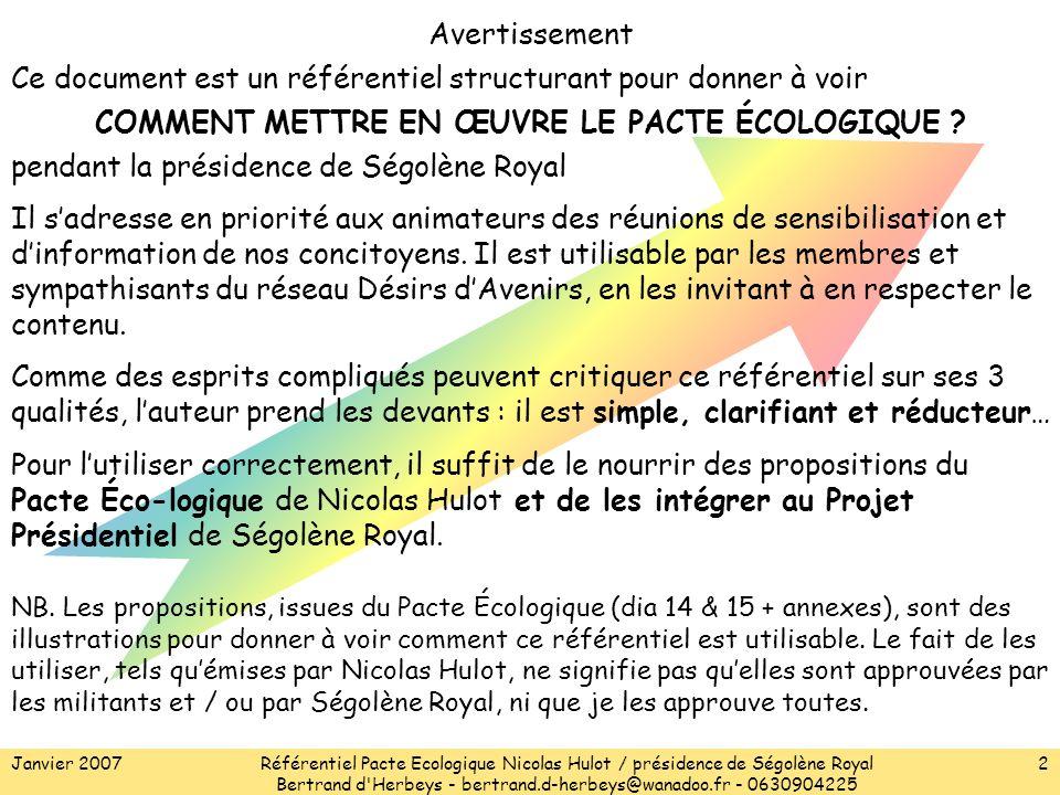 Janvier 2007Référentiel Pacte Ecologique Nicolas Hulot / présidence de Ségolène Royal Bertrand d Herbeys - bertrand.d-herbeys@wanadoo.fr - 0630904225 2 Avertissement Ce document est un référentiel structurant pour donner à voir COMMENT METTRE EN ŒUVRE LE PACTE ÉCOLOGIQUE .