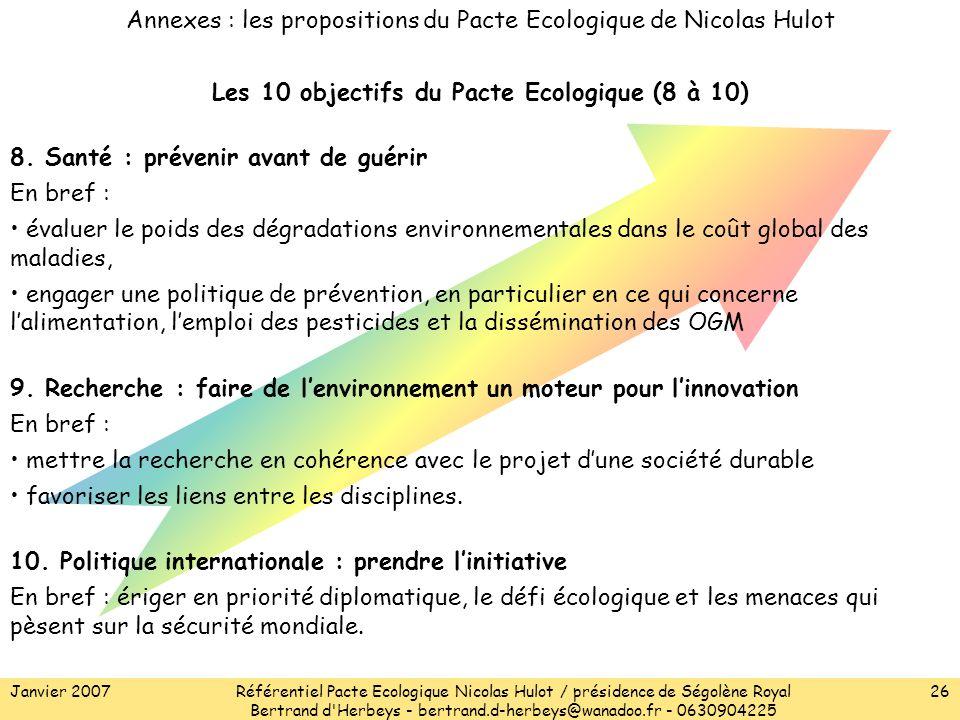 Janvier 2007Référentiel Pacte Ecologique Nicolas Hulot / présidence de Ségolène Royal Bertrand d Herbeys - bertrand.d-herbeys@wanadoo.fr - 0630904225 26 8.