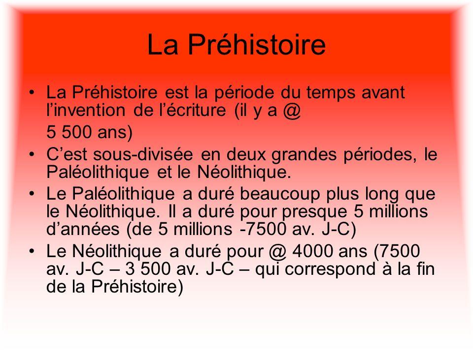 La Préhistoire La Préhistoire est la période du temps avant linvention de lécriture (il y a @ 5 500 ans) Cest sous-divisée en deux grandes périodes, l