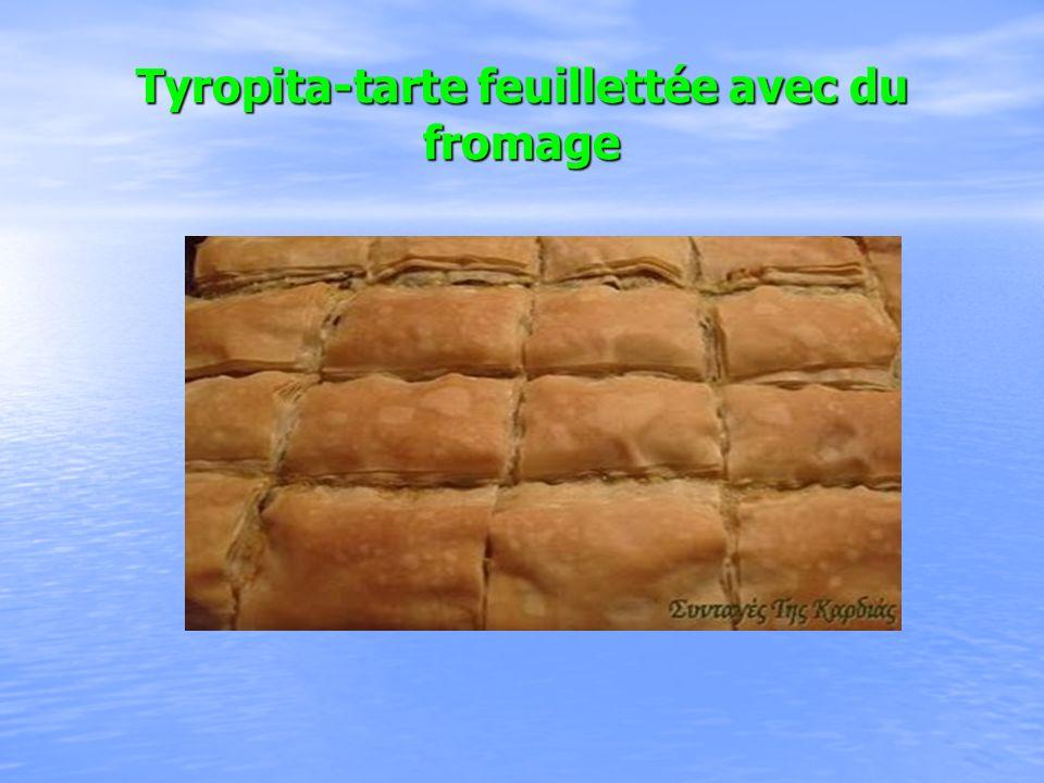Tyropita-tarte feuillettée avec du fromage