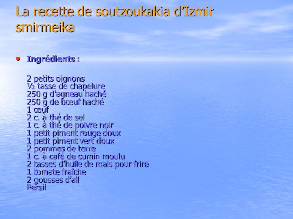 La recette de soutzoukakia dIzmir smirmeika Ingrédients : Ingrédients : 2 petits oignons ½ tasse de chapelure 250 g dagneau haché 250 g de bœuf haché