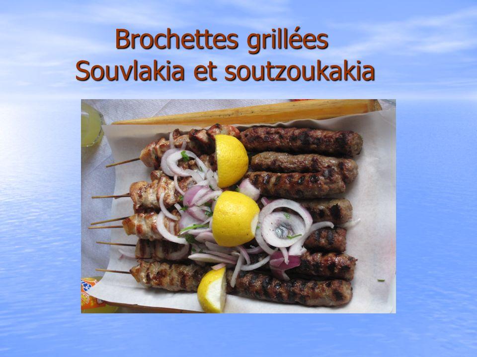 Brochettes grillées Souvlakia et soutzoukakia