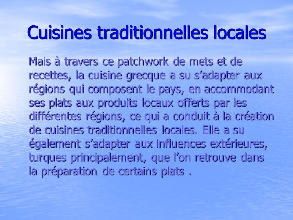 Influences de la cuisine turque et de la cuisine vénitienne La cuisine grecque a été directement influencée par la cuisine turque, ceci est visible aujourdhui dans certains plats comme le tzatziki (yaourt au concombre et à lail), le briam (légumes variés à lhuile dolive cuits au four), le souvlaki (viande grillée servie dans une galette de pain, pitta) et la célèbre moussaka mais aussi par la cuisine vénitienne, plus particulièrement dans les régions des îles Ioniennes, doù leur goût pour les pâtes et les différentes pittes (galettes de pain).