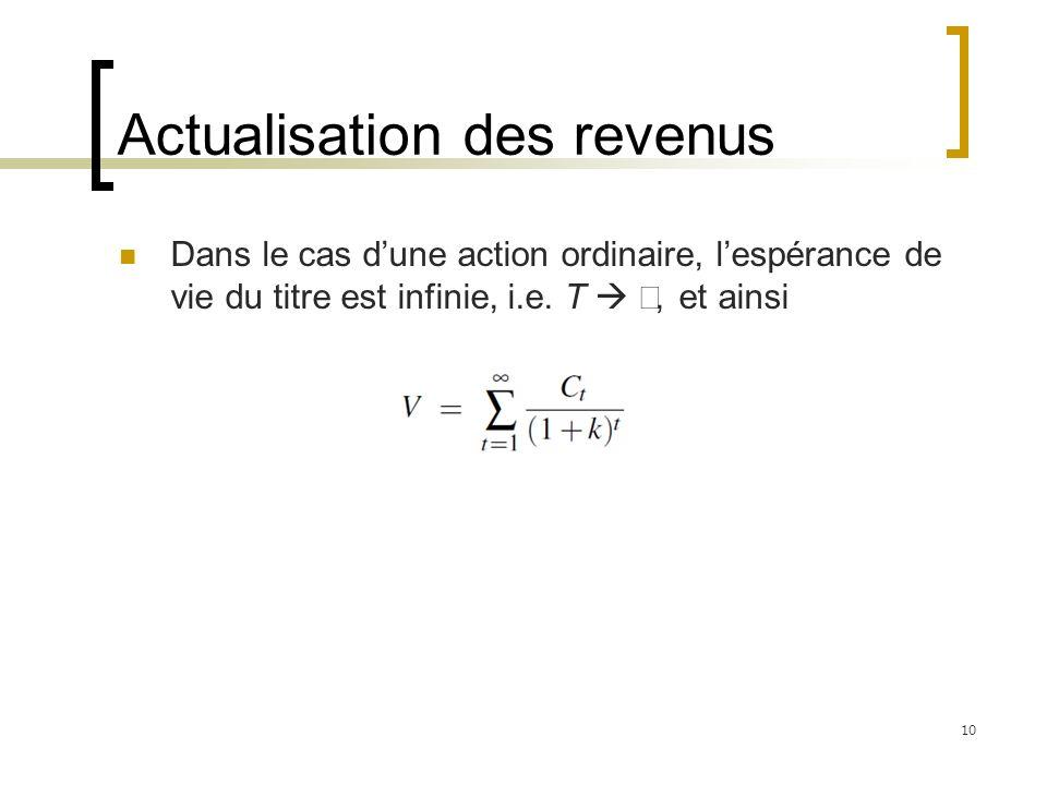Actualisation des revenus Dans le cas dune action ordinaire, lespérance de vie du titre est infinie, i.e. T, et ainsi 10