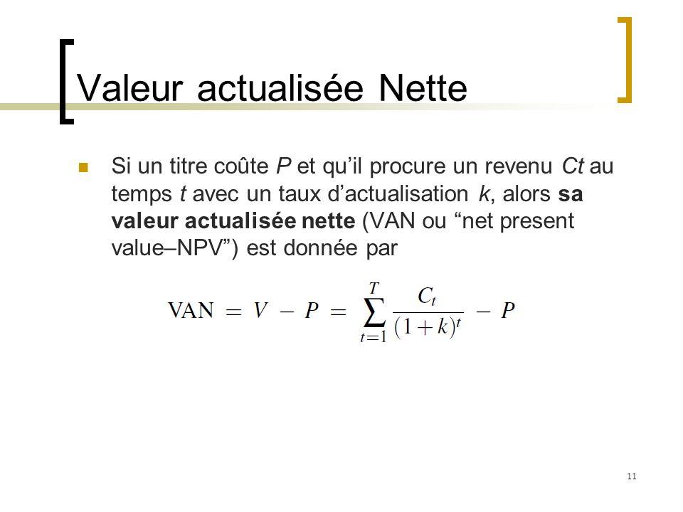 Valeur actualisée Nette Si un titre coûte P et quil procure un revenu Ct au temps t avec un taux dactualisation k, alors sa valeur actualisée nette (V
