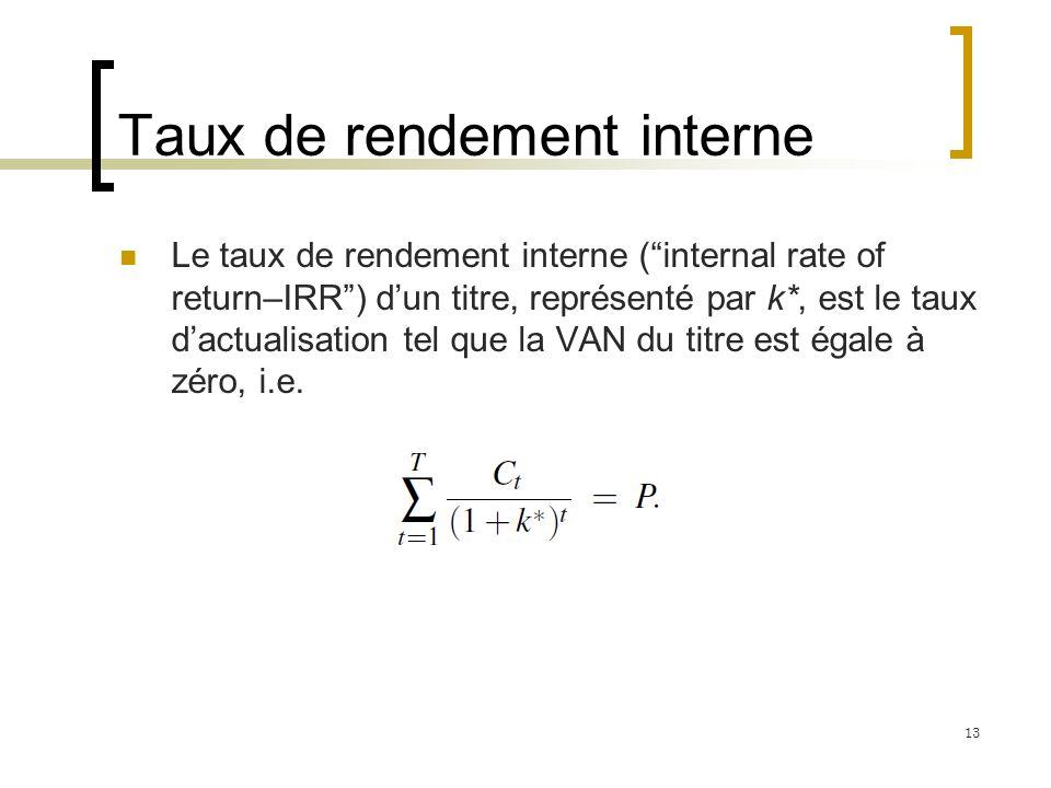 Taux de rendement interne Le taux de rendement interne (internal rate of return–IRR) dun titre, représenté par k*, est le taux dactualisation tel que