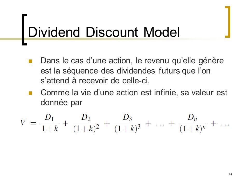 Dividend Discount Model Dans le cas dune action, le revenu quelle génère est la séquence des dividendes futurs que lon sattend à recevoir de celle-ci.