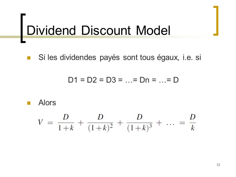 Dividend Discount Model Si les dividendes payés sont tous égaux, i.e. si D1 = D2 = D3 = …= Dn = …= D Alors 15