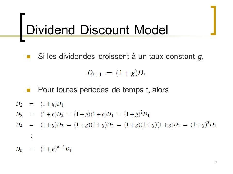 Dividend Discount Model Si les dividendes croissent à un taux constant g, Pour toutes périodes de temps t, alors 17