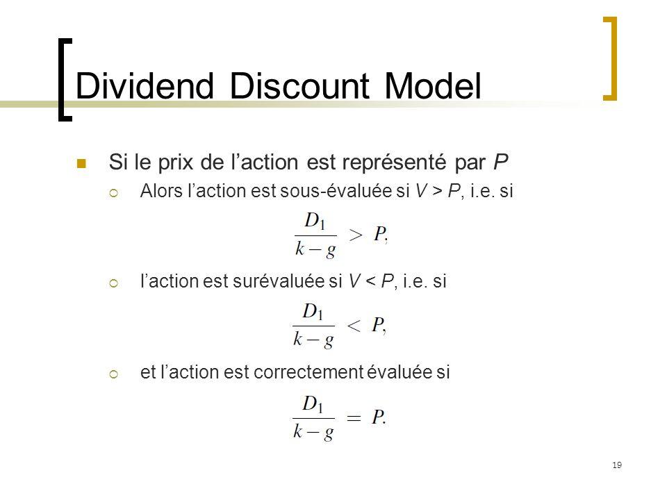 Dividend Discount Model Si le prix de laction est représenté par P Alors laction est sous-évaluée si V > P, i.e. si laction est surévaluée si V < P, i