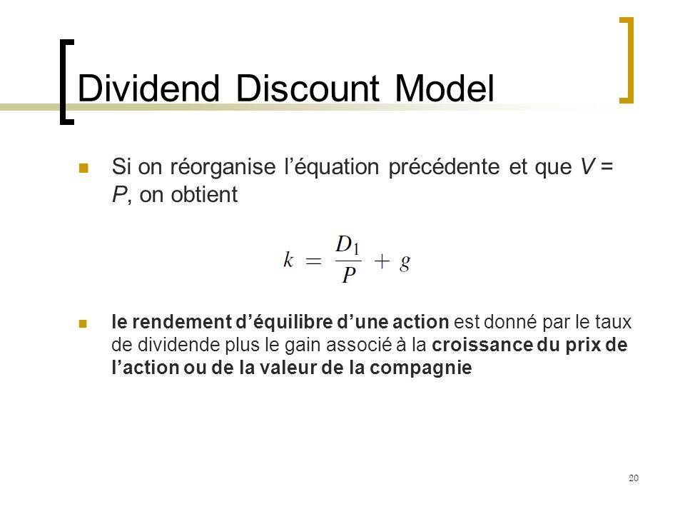 Dividend Discount Model Si on réorganise léquation précédente et que V = P, on obtient le rendement déquilibre dune action est donné par le taux de di