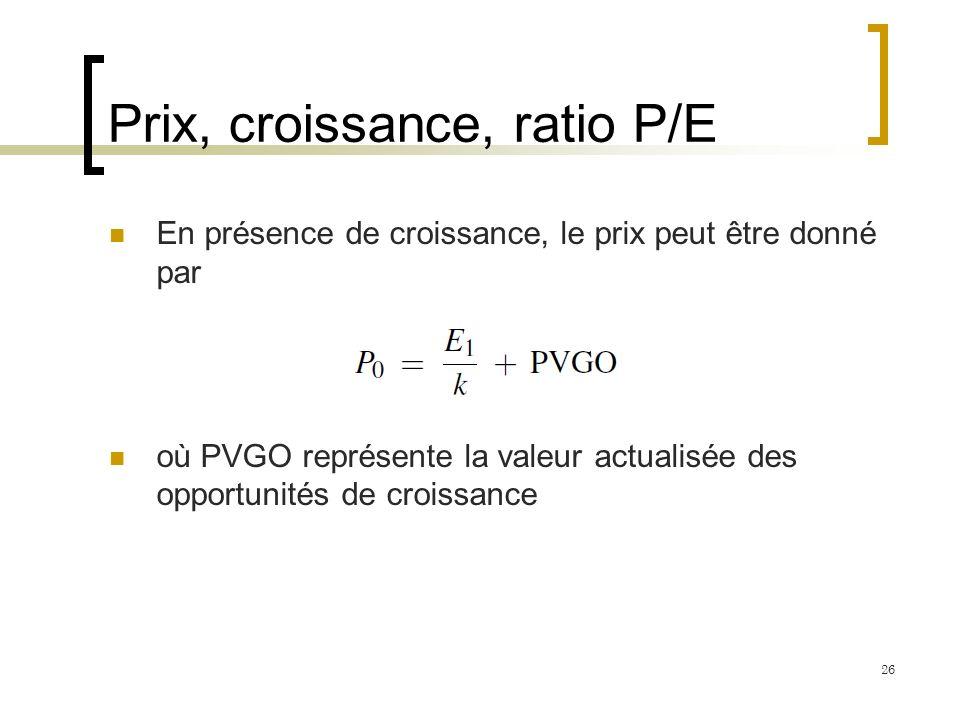 Prix, croissance, ratio P/E En présence de croissance, le prix peut être donné par où PVGO représente la valeur actualisée des opportunités de croissa