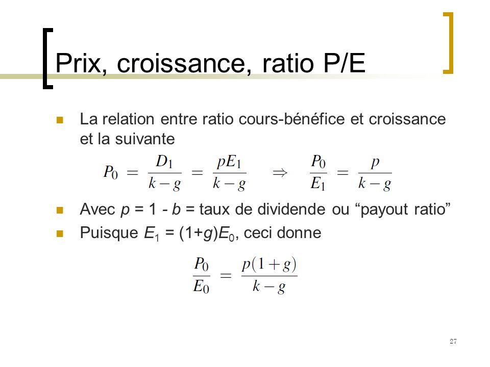 Prix, croissance, ratio P/E La relation entre ratio cours-bénéfice et croissance et la suivante Avec p = 1 - b = taux de dividende ou payout ratio Pui