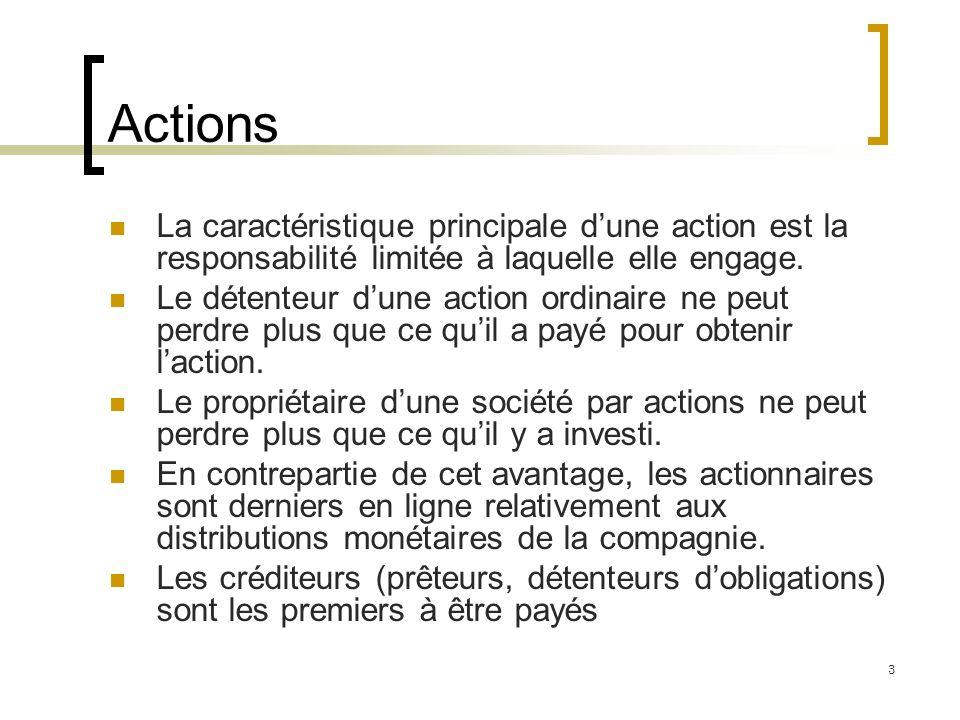 Actions La caractéristique principale dune action est la responsabilité limitée à laquelle elle engage. Le détenteur dune action ordinaire ne peut per