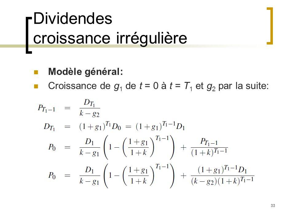 Dividendes croissance irrégulière Modèle général: Croissance de g 1 de t = 0 à t = T 1 et g 2 par la suite: 33