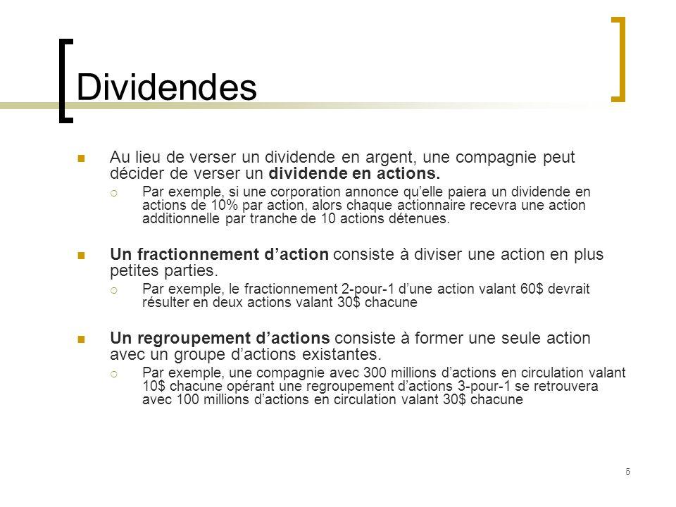 Dividendes Au lieu de verser un dividende en argent, une compagnie peut décider de verser un dividende en actions. Par exemple, si une corporation ann