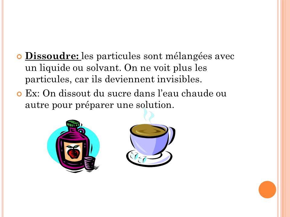 Dissoudre: les particules sont mélangées avec un liquide ou solvant.