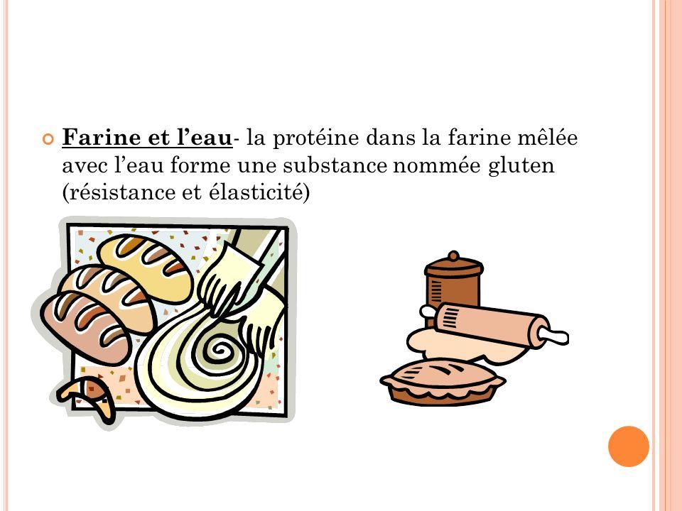 Farine et leau - la protéine dans la farine mêlée avec leau forme une substance nommée gluten (résistance et élasticité)