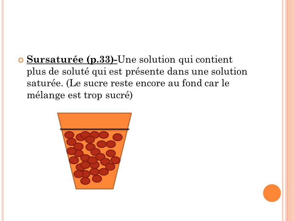 Sursaturée (p.33)- Une solution qui contient plus de soluté qui est présente dans une solution saturée.